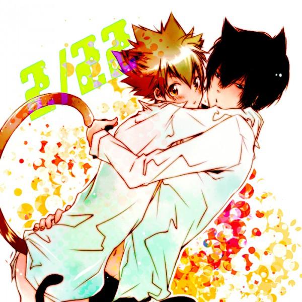 Tags: Anime, Sk (Pixiv230549), Katekyo Hitman REBORN!, Hibari Kyoya, Sawada Tsunayoshi, Fanart, Pixiv