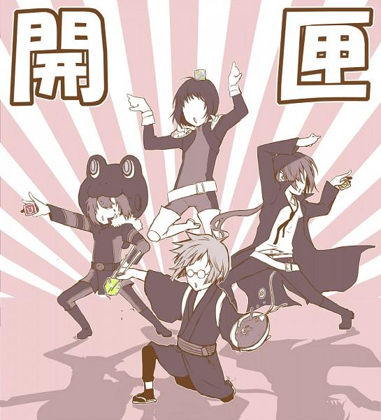 Tags: Anime, T Riku, Katekyo Hitman REBORN!, Kawahira, Rokudou Mukuro, Fran, Genkishi, Sentai Pose, Rising Sun Motif, Ramen, Pixiv