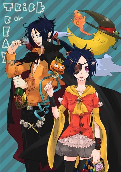 Tags: Anime, Katekyo Hitman REBORN!, Sawada Tsunayoshi, Chrome Dokuro, Rokudou Mukuro, Reborn, Flying Sweatdrops, Vampire Costume, Fanart