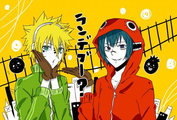 Tags: Anime, Yuutera Miko, Katekyo Hitman REBORN!, Demon Spade, Vongola Primo Giotto, Railroad Tracks, Smiley Face, Fanart, Matryoshka