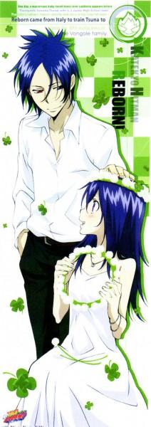 Tags: Anime, Tanaka Masayoshi, Artland, Katekyo Hitman REBORN!, Rokudou Mukuro, Chrome Dokuro, Caressing, Official Art