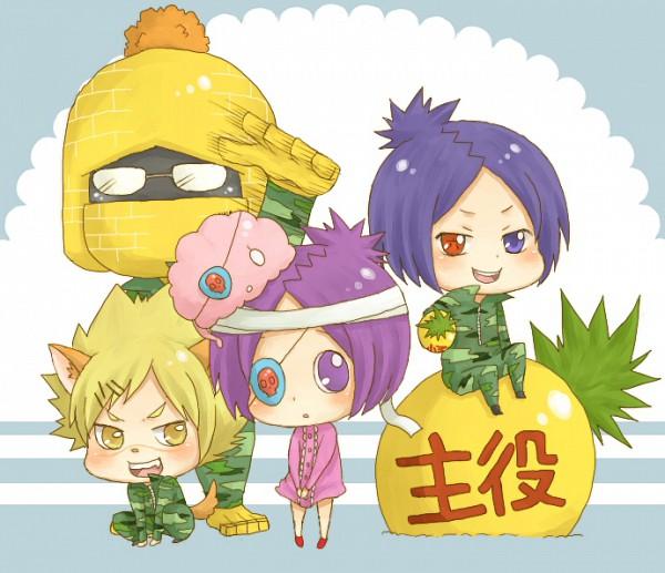 Tags: Anime, Marimoya, Monster Tamer Tsuna, Katekyo Hitman REBORN!, Monster Tamer Mukuro, Joushima Ken, Rokudou Mukuro, Golem Kakipi, Chrome Dokuro, Weredog Ken, Mummy Chrome, Kakimoto Chikusa, Pineapple