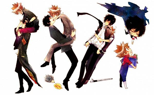 Tags: Anime, Sk (Pixiv230549), Katekyo Hitman REBORN!, Monster Tamer Tsuna, Hibarin, Hibari Kyoya, Roll (KHR), Hibird, Sawada Tsunayoshi, Hedgehog, Tonfa, Pixiv, Fanart