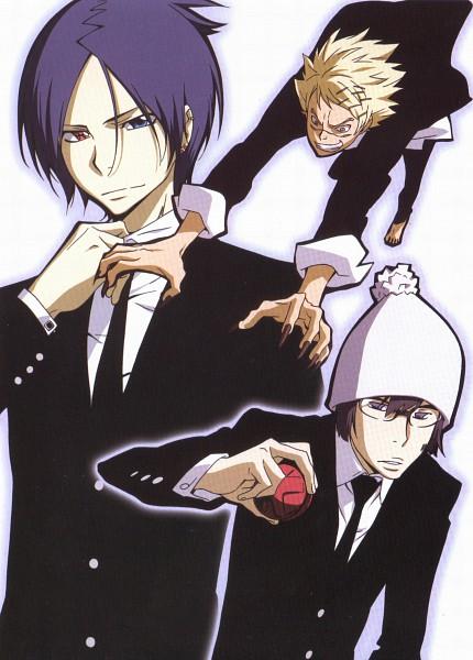 Tags: Anime, Katekyo Hitman REBORN!, Joushima Ken, Kakimoto Chikusa, Rokudou Mukuro, Mobile Wallpaper, Official Art