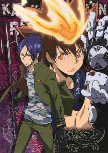 Tags: Anime, Katekyo Hitman REBORN!, Sawada Tsunayoshi, Rokudou Mukuro, Mobile Wallpaper, Official Art