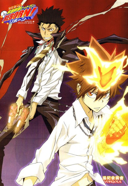 Tags: Anime, Artland, Katekyo Hitman REBORN!, Xanxus, Sawada Tsunayoshi, Dying Will Flame, Official Art, Mobile Wallpaper