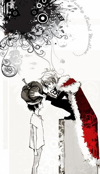 Tags: Anime, Katekyo Hitman REBORN!, Hibari Kyoya, Demon Spade, Rokudou Mukuro, Mobile Wallpaper, Artist Request