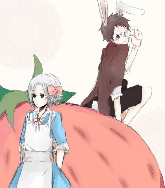 Tags: Anime, Katekyo Hitman REBORN!, Alice in Wonderland, Yamamoto Takeshi, Gokudera Hayato, Brown Shirt, Pixiv