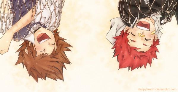 Tags: Anime, Amano Akira, Katekyo Hitman REBORN!, Sawada Tsunayoshi, Kozato Enma, Net, deviantART, Facebook Cover, Colorization