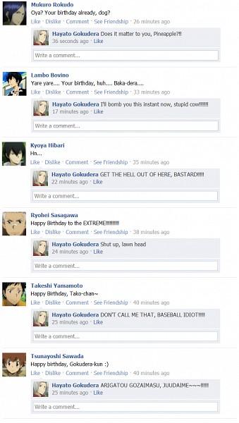 Tags: Anime, Katekyo Hitman REBORN!, Lambo, Yamamoto Takeshi, Sasagawa Ryohei, Hibari Kyoya, Rokudou Mukuro, Sawada Tsunayoshi, Gokudera Hayato, Fhxc885, Social Media, Facebook, deviantART