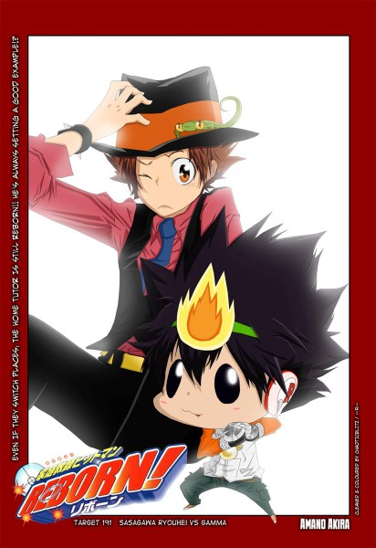 Tags: Anime, Tanaka Masayoshi, Katekyo Hitman REBORN!, Leon (Katekyo Hitman REBORN!), Sawada Tsunayoshi, Reborn, Sawada Tsunayoshi (Cosplay), Reborn (Cosplay), Lizard, Colorization, Mobile Wallpaper