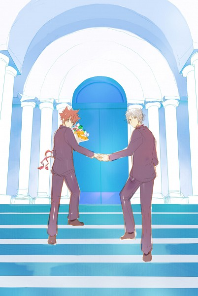 Tags: Anime, Pixiv Id 866569, Katekyo Hitman REBORN!, Sawada Tsunayoshi, Gokudera Hayato, Walking Together, Pixiv, Fanart