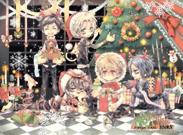 Tags: Anime, Ciel 33.3, Katekyo Hitman REBORN!, Uri (Katekyo Hitman REBORN!), Hibari Kyoya, Rokudou Mukuro, Sawada Tsunayoshi, Gokudera Hayato, Yamamoto Takeshi, Reindeer Costume, Pixiv