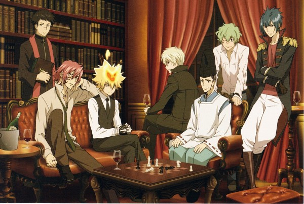 Tags: Anime, Tanaka Masayoshi, Artland, Katekyo Hitman REBORN!, G., Knuckle, Vongola Primo Giotto, Lampo, Alaude, Demon Spade, Asari Ugetsu, Chess, Champagne