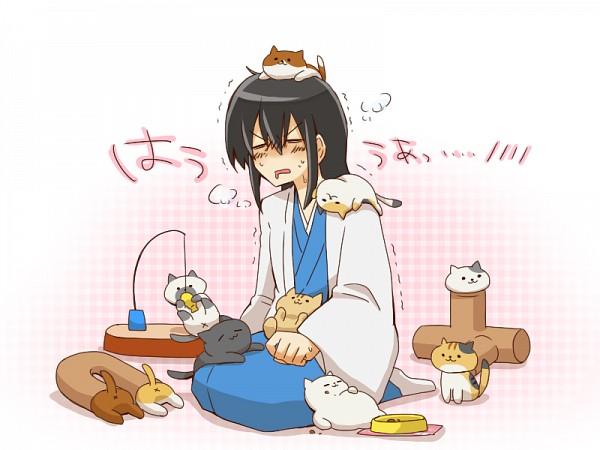 Tags: Anime, Pixiv Id 2274567, Gintama, Neko Atsume, Katsura Kotaro, Fanart From Pixiv, Fanart, PNG Conversion, Pixiv