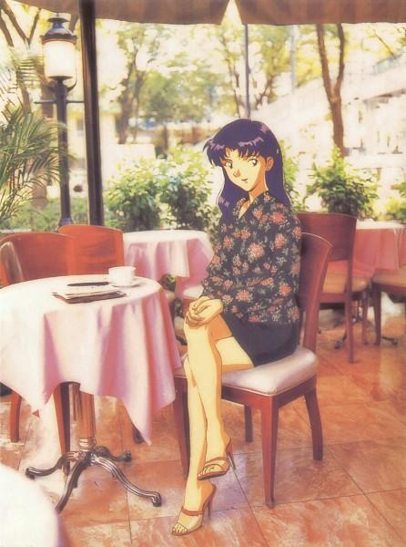 Tags: Anime, Shunji Suzuki, Gainax, Neon Genesis Evangelion, Die Sterne, Katsuragi Misato, Restaurant, Real World Background, Official Art, Scan