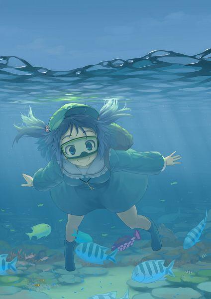 Tags: Anime, Kurou (Crow), Touhou, Kawashiro Nitori, Diving, Snorkel, Swimming, Fanart, Pixiv, Mobile Wallpaper, Nitori Kawashiro