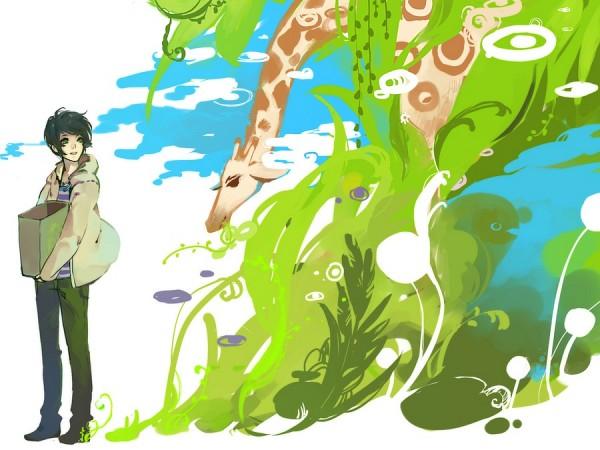 Tags: Anime, Kaytseki, Recycling Symbol, Giraffe, deviantART, Pixiv, Original, PNG Conversion