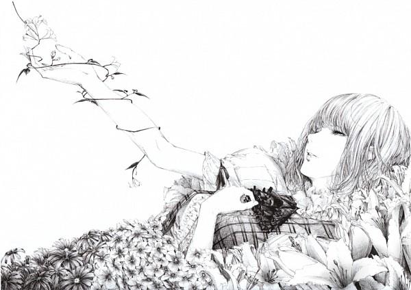 Tags: Anime, Sawasawa, Touhou, Kazami Yuuka, Daisy (Flower), Morning Glory, Reaching Up, Eyes Half Closed, Fanart, Yuuka Kazami