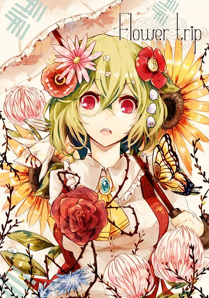 Tags: Anime, Kaio Watagami, Touhou, Kazami Yuuka, Mobile Wallpaper, Fanart From Pixiv, Fanart, Pixiv, Yuuka Kazami
