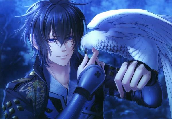 Tags: Anime, miko (Artist), IDEA FACTORY, Toki no Kizuna, Kazuya (Toki no Kizuna), Hawk, Bird on Hand, Scan, Official Art