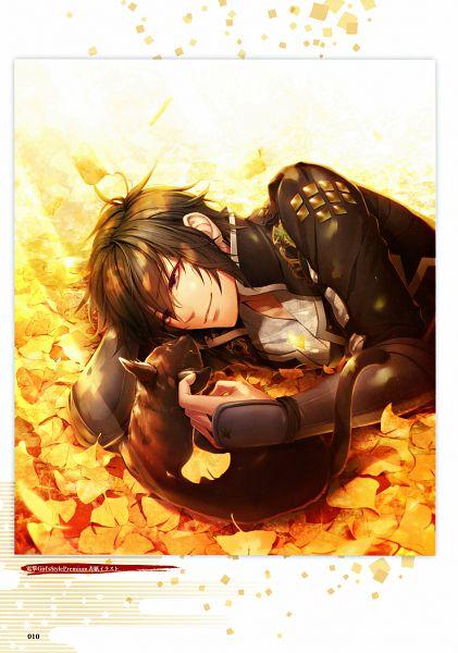 Tags: Anime, miko (Artist), IDEA FACTORY, Toki no Kizuna Official Fanbook ~Sekigahara Kitan~, Toki no Kizuna, Kazuya (Toki no Kizuna), Ginkgo Biloba, Mobile Wallpaper, Official Art, Scan