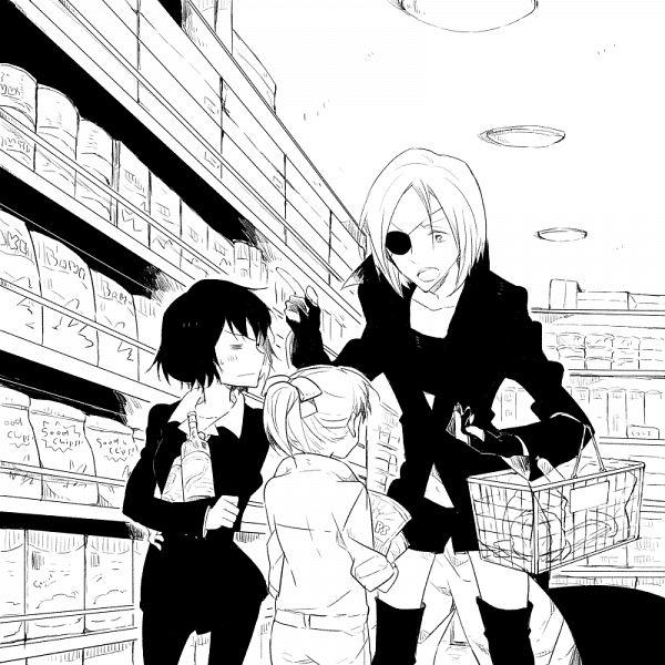Tags: Anime, Pixiv Id 14225881, Kekkai Sensen, Neyka (Kekkai Sensen), K.K. (Kekkai Sensen), Chain Sumeragi, PNG Conversion