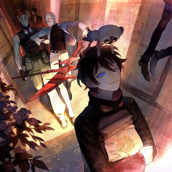 Tags: Anime, Kanamura Ren, Kekkai Sensen, Leonardo Watch, Chain Sumeragi, Klaus V. Reinherz, Zed O'Brien, Sonic Speed Monkey, Zapp Renfro, Steven A. Starphase, Paper Bag, Holding Bag, Goggles Around Neck