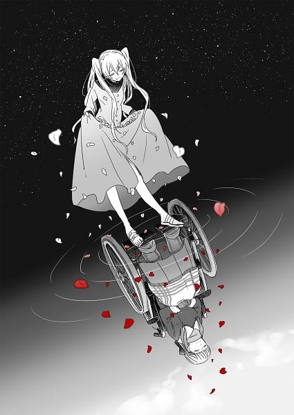 Tags: Anime, Pixiv Id 4267597, Kekkai Sensen, White (Kekkai Sensen), Michella Watch, Different Reflection, Wheelchair, Wheel, Fanart, Fanart From Pixiv, Pixiv, Mobile Wallpaper