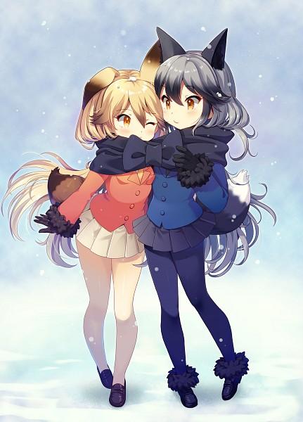 Tags: Anime, Pixiv Id 376948, Kemono Friends, Ezo Red Fox (Kemono Friends), Silver Fox (Kemono Friends), Orange Jacket, Orange Outerwear, Fanart From Pixiv, Mobile Wallpaper, Pixiv, Fanart
