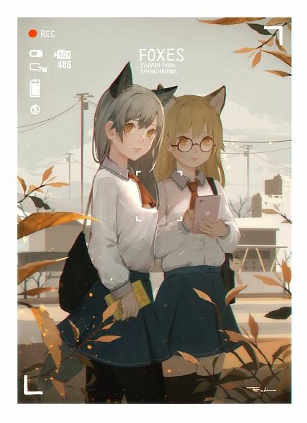 Tags: Anime, Pixiv Id 5842783, Kemono Friends, Ezo Red Fox (Kemono Friends), Silver Fox (Kemono Friends), Mobile Wallpaper, Fanart From Pixiv, Pixiv, Fanart