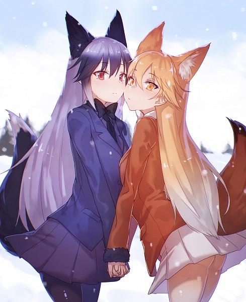 Tags: Anime, Notsugimi, Kemono Friends, Ezo Red Fox (Kemono Friends), Silver Fox (Kemono Friends), Orange Outerwear, Orange Jacket, Fanart, Fanart From Pixiv, Pixiv