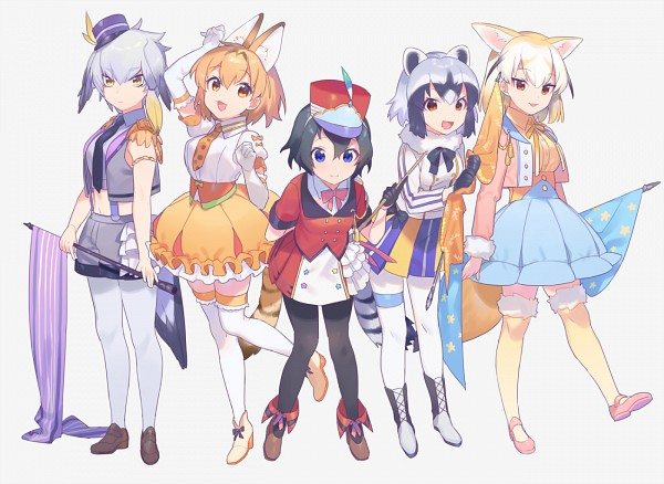 Tags: Anime, Heiwa (Murasiho), Kemono Friends, Kaban (Kemono Friends), Common Raccoon (Kemono Friends), Fennec (Kemono Friends), Serval (Kemono Friends), Shoebill (Kemono Friends), Araigumamimi, Fanart, Fanart From Pixiv, Pixiv
