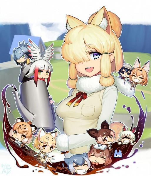 Tags: Anime, Taketora, Kemono Friends, Suri Alpaca (Kemono Friends), Southern Tamandua (Kemono Friends), Sand Cat (Kemono Friends), Kaban (Kemono Friends), Okapi (Kemono Friends), Lucky Beast (Kemono Friends), Serval (Kemono Friends), Small-clawed Otter (Kemono Friends), Shoebill (Kemono Friends), Jaguar (Kemono Friends)