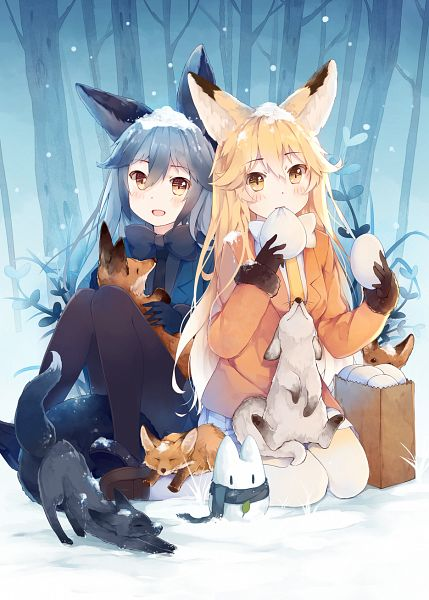 Tags: Anime, Pixiv Id 1497854, Kemono Friends, Ezo Red Fox (Kemono Friends), Lucky Beast (Kemono Friends), Silver Fox (Kemono Friends), PNG Conversion