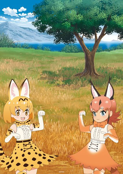 Tags: Anime, Tomason, Kemono Friends, Caracal (Kemono Friends), Serval (Kemono Friends), Official Art, Key Visual