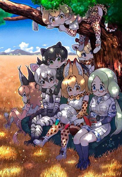 Tags: Anime, Kemono Friends, Black Panther (Kemono Friends), Reticulated Giraffe (Kemono Friends), Mirai (Kemono Friends), Serval (Kemono Friends), Caracal (Kemono Friends), Aardwolf (Kemono Friends)