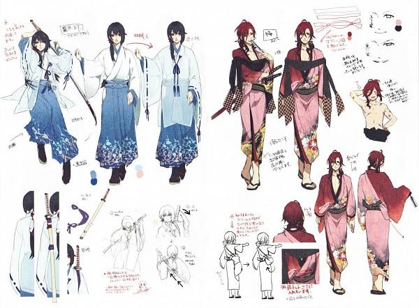 Tags: Anime, Yomi (Pixiv390297), Ken ga Kimi, Enishi (Ken ga Kimi), Sagihara Sakyou, Loose Kimono, Official Art, Character Sheet, Scan