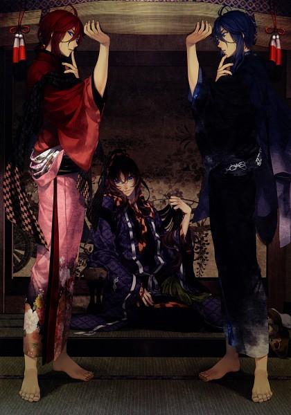 Tags: Anime, Yomi (Pixiv390297), Ken ga Kimi, Enishi (Ken ga Kimi), Tokugawa Iemitsu (Ken ga Kimi), Tsuzumi Hougen, Official Art, Scan