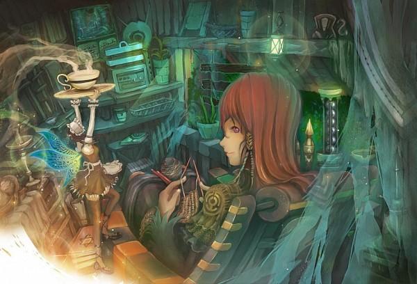 Tags: Anime, Kentarou (artist), Knitting, Shelf, Pixiv, Original