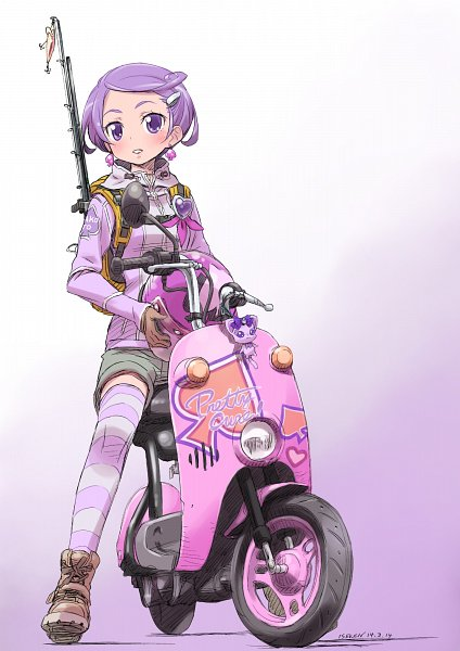 Tags: Anime, Isedaichi Ken, Dokidoki! Precure, Davi (Dokidoki! Precure), Kenzaki Makoto, Scooter, Fanart From Pixiv, Pixiv, Fanart