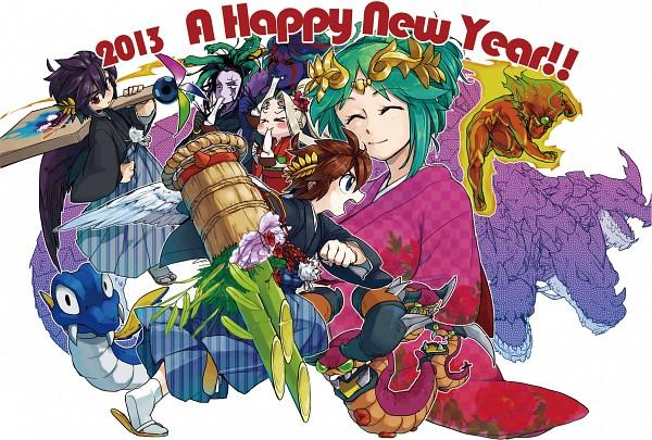 Tags: Anime, Pixiv Id 915163, Kid Icarus, Dark Pit, Hades (Kid Icarus), Palutena, Viridi, Pit, Pyrrhon, Red Skin, Hanetsuki, Purple Skin, Kadomatsu