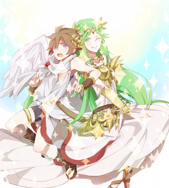 Tags: Anime, Sobame Shi O, Kid Icarus, Palutena, Pit, Greek Clothes, Laurel Wreath, Pixiv, PNG Conversion, Fanart, Fanart From Pixiv