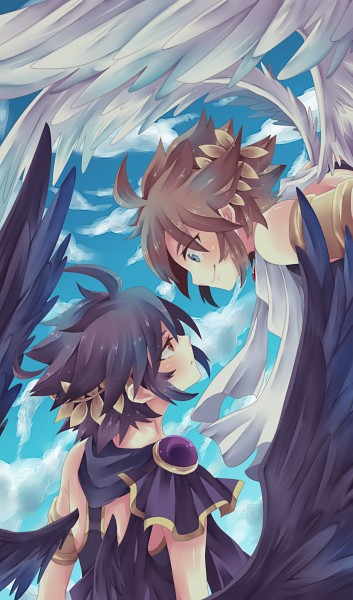 Tags: Anime, Boooo-im, Kid Icarus, Pit, Dark Pit, Greek Clothes, Laurel Wreath, Fanart, Mobile Wallpaper, Pixiv, Fanart From Pixiv