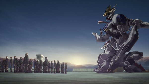 Tags: Anime, Sunrise (Studio), Kidou Senshi Gundam: Tekketsu no Orphans, ASW-G-08 Gundam Barbatos Lupus Rex, Mikazuki Augus, Screenshot, Wallpaper, Gundams, Mobile Suit Gundam: Iron-blooded Orphans