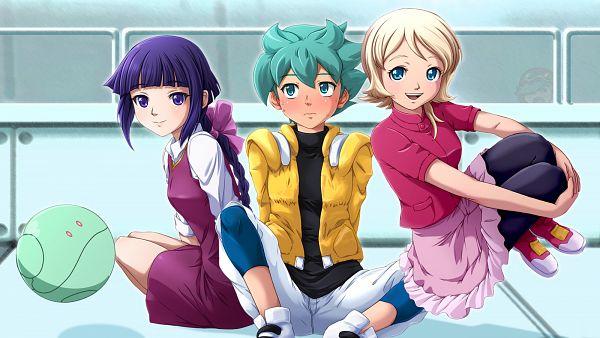 Tags: Anime, Yume Robo, Kidou Senshi Gundam AGE, Flit Asuno, Haro, Emily Amonde, Yurin Leciel, Wallpaper, Mobile Suit Gundam Age