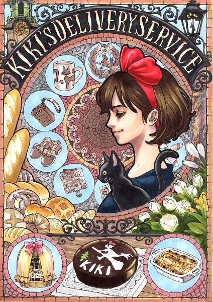 Tags: Anime, Pixiv Id 4873996, Studio Ghibli, Majo no Takkyuubin, Jiji (Majo no Takkyuubin), Kiki (Majo no Takkyuubin), Black Furred Animal, Mobile Wallpaper