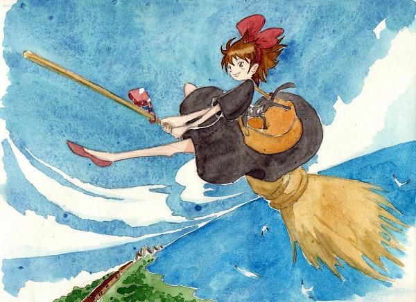 Tags: Anime, Moodame, Majo no Takkyuubin, Jiji (Majo no Takkyuubin), Kiki (Majo no Takkyuubin), Fanart, Traditional Media, Pixiv