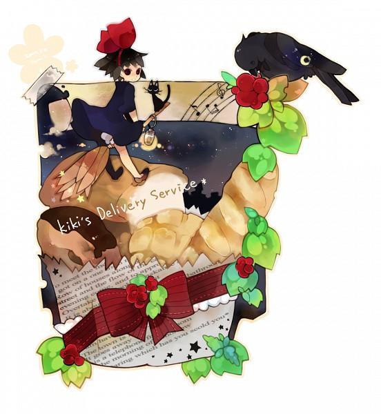 Tags: Anime, Rinju Umisu, Majo no Takkyuubin, Jiji (Majo no Takkyuubin), Kiki (Majo no Takkyuubin), Pixiv, PNG Conversion, Fanart, Kiki (kiki's Delivery Service)
