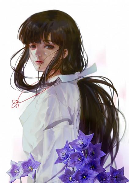 Tags: Anime, PAR。, InuYasha, Kikyo (InuYasha), Bellflower, Pixiv, Fanart From Pixiv, Fanart, Mobile Wallpaper